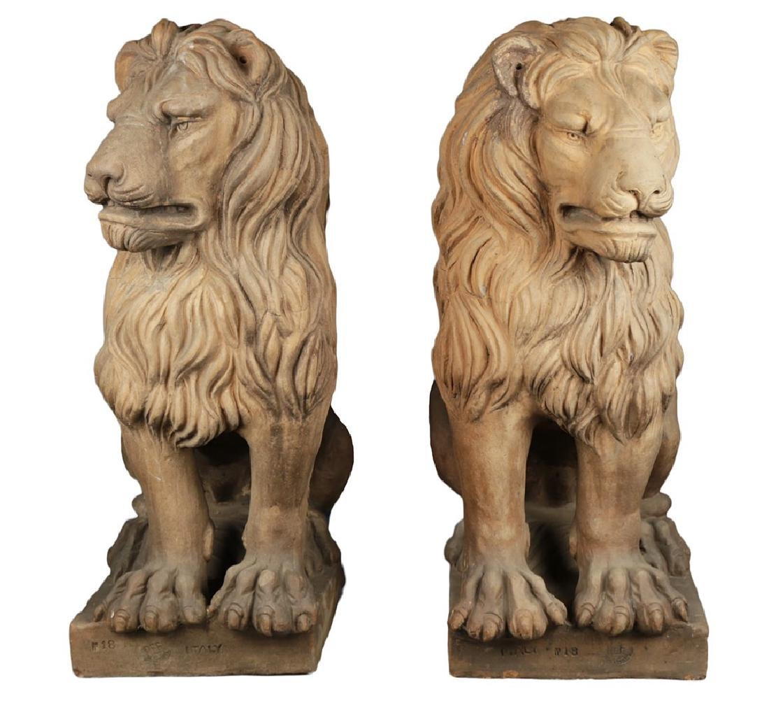 Pair of Italian Terracotta Lions
