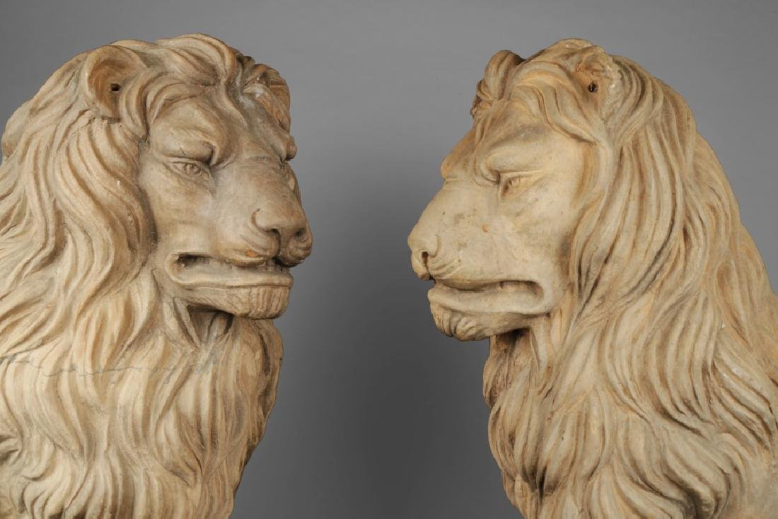 Pair of Italian Terracotta Lions - 3