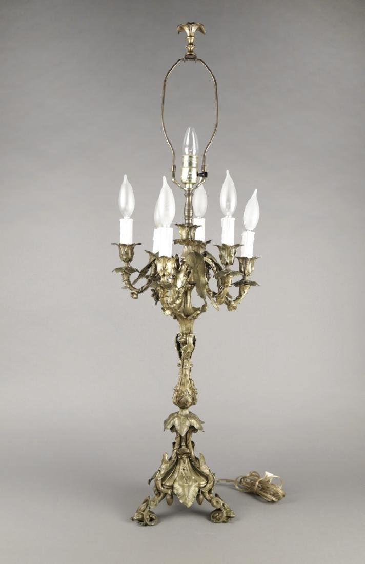 Finely Cast French Bronze Six Light Candelabrum