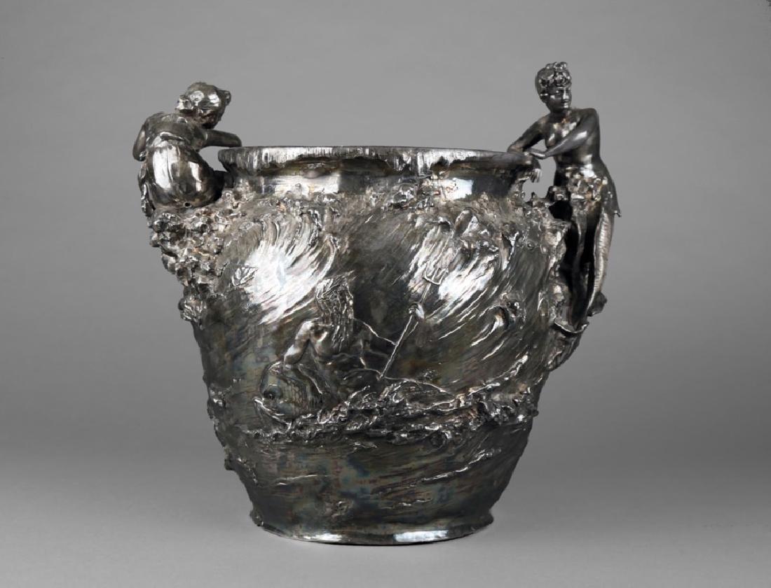 An Art Nouveau Silvered Figural Vase, c.1900