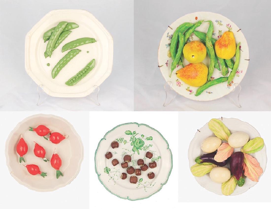 Group of Trompe l'oeil ceramic plates