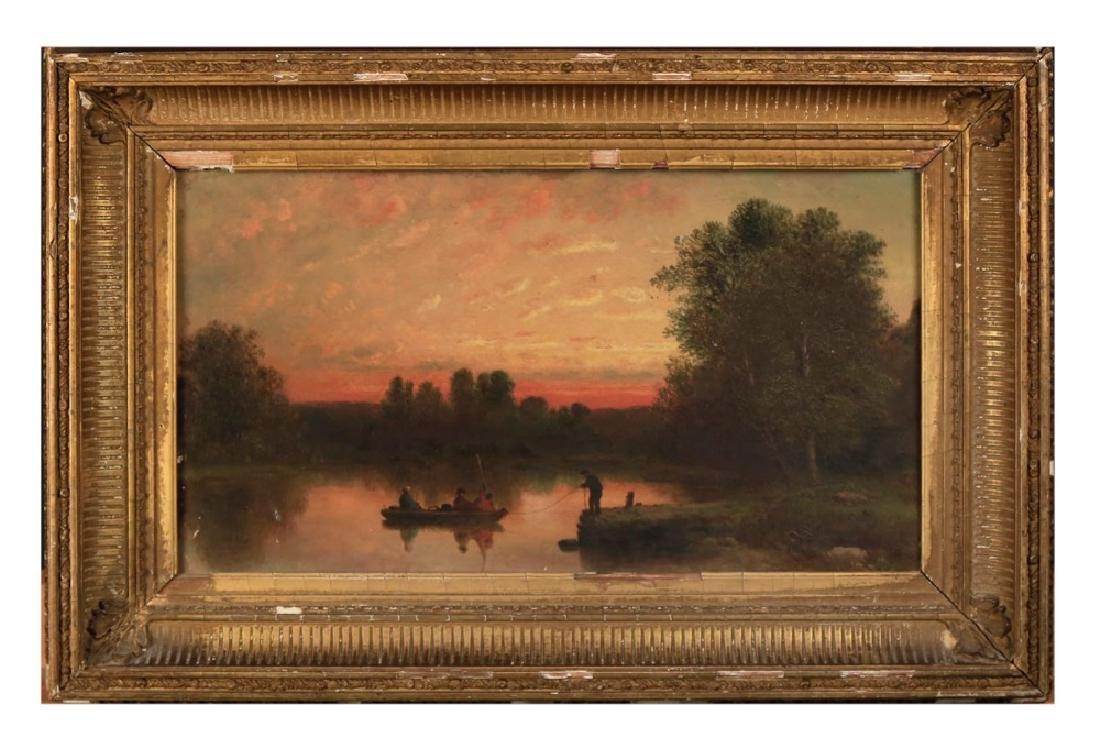 19thc. American School - Fishing at Twilight