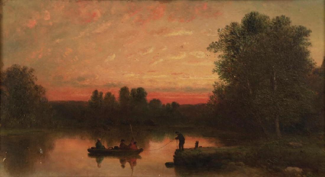19thc. American School - Fishing at Twilight - 2
