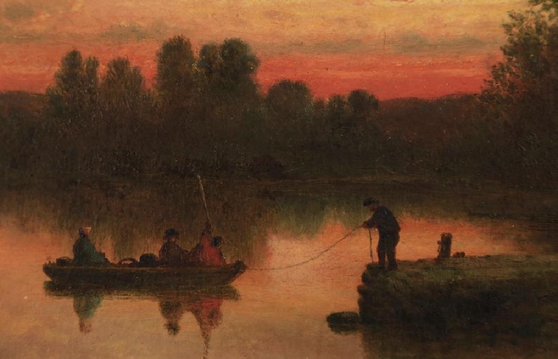 19thc. American School - Fishing at Twilight - 3