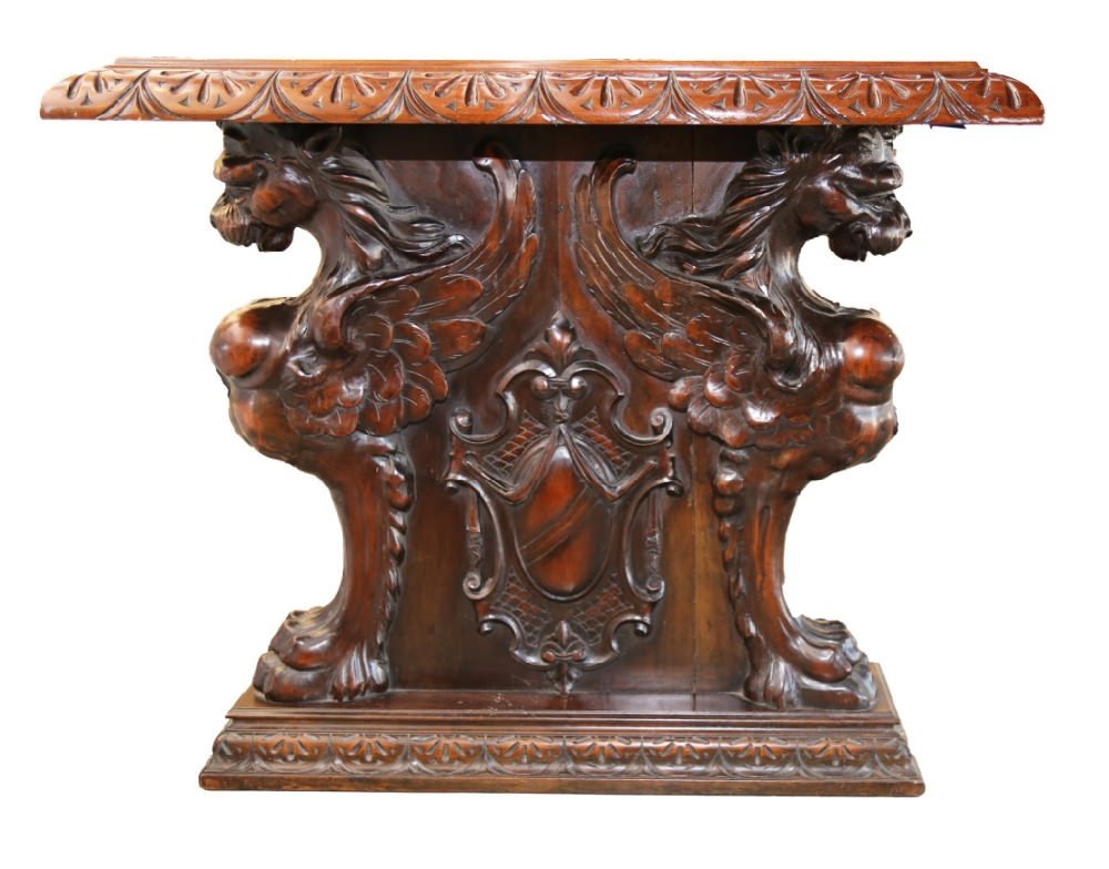 Italian Baroque Style Walnut Library or Refectory Table