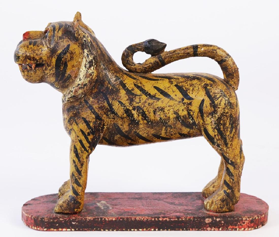 Southeast Asian Carved and Painted Wood Tiger