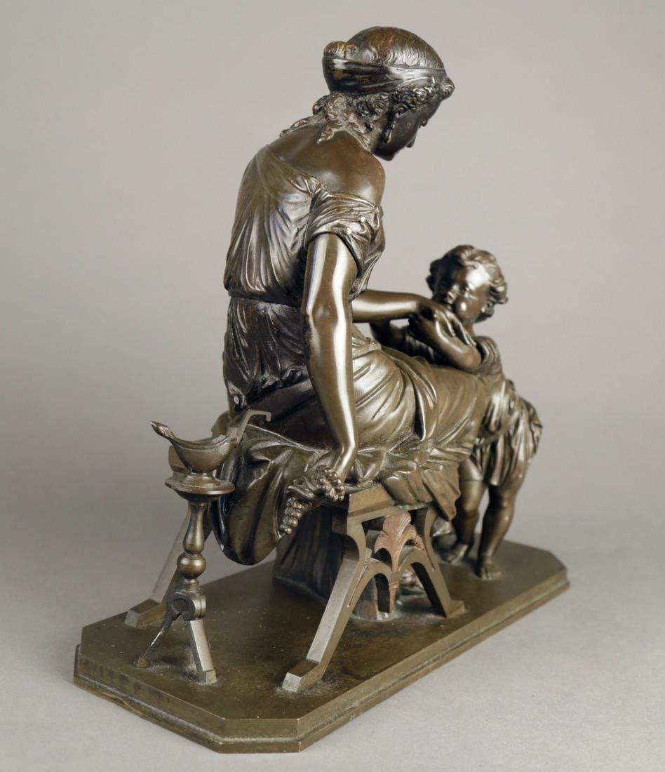 Bronze Figural Group of a Mother and Child, 19th c. - 2