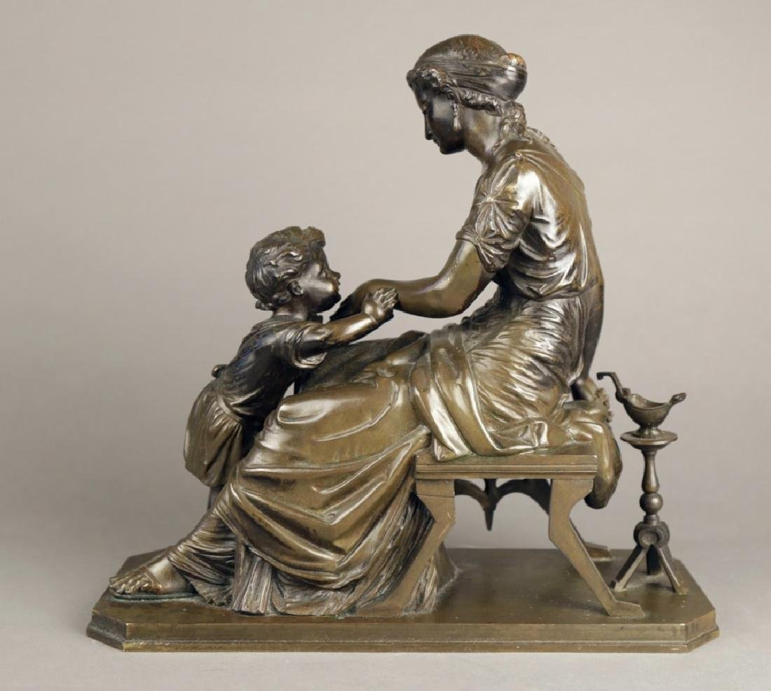 Bronze Figural Group of a Mother and Child, 19th c. - 3