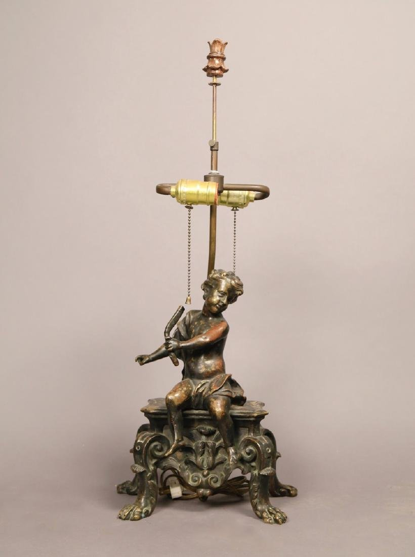 A French Bronze Figure of a Putto, Fitted as a Lamp