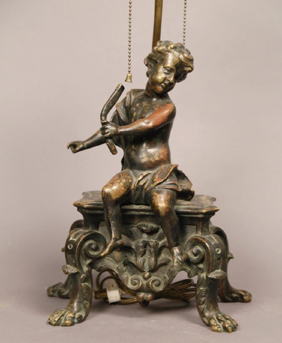 A French Bronze Figure of a Putto, Fitted as a Lamp - 2