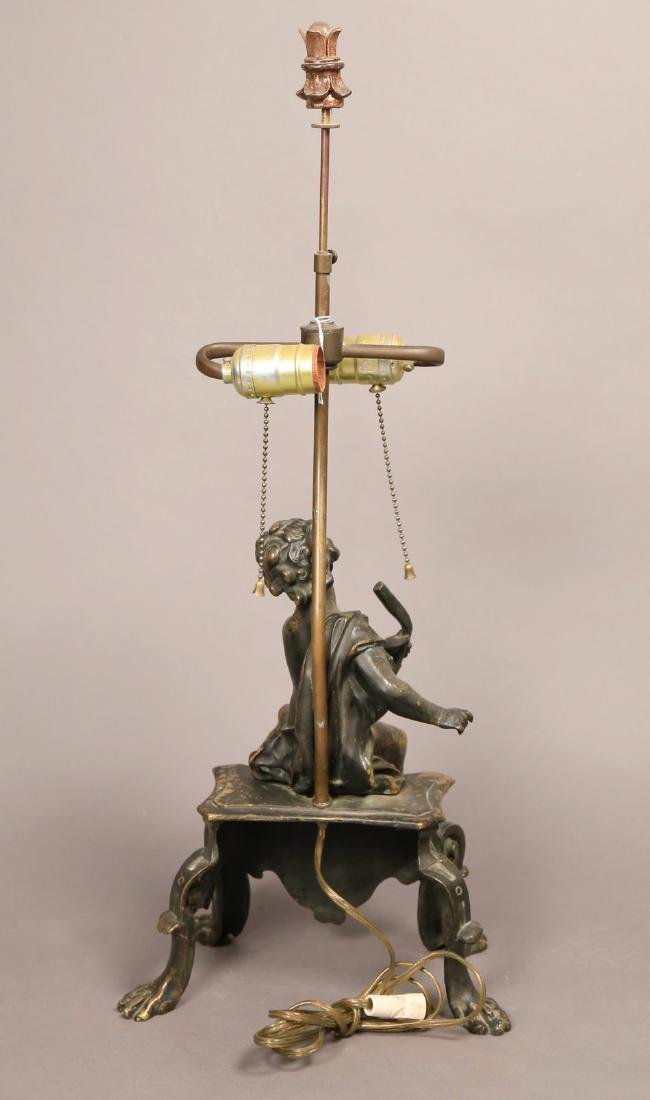 A French Bronze Figure of a Putto, Fitted as a Lamp - 4