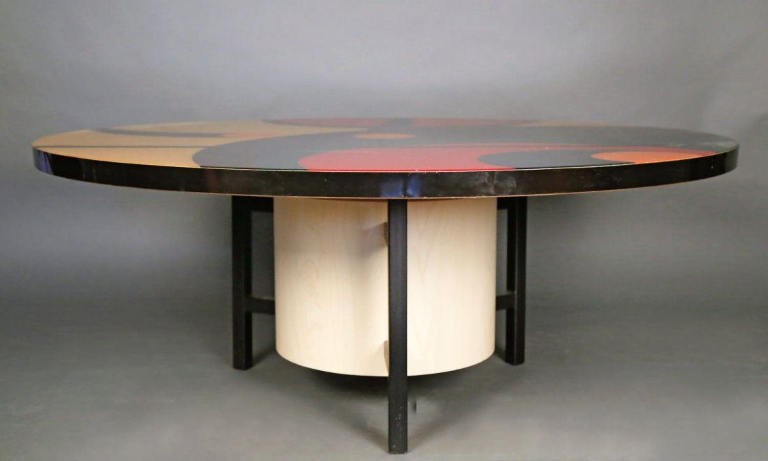Inlaid and Stained Wood Coffee Table - 2