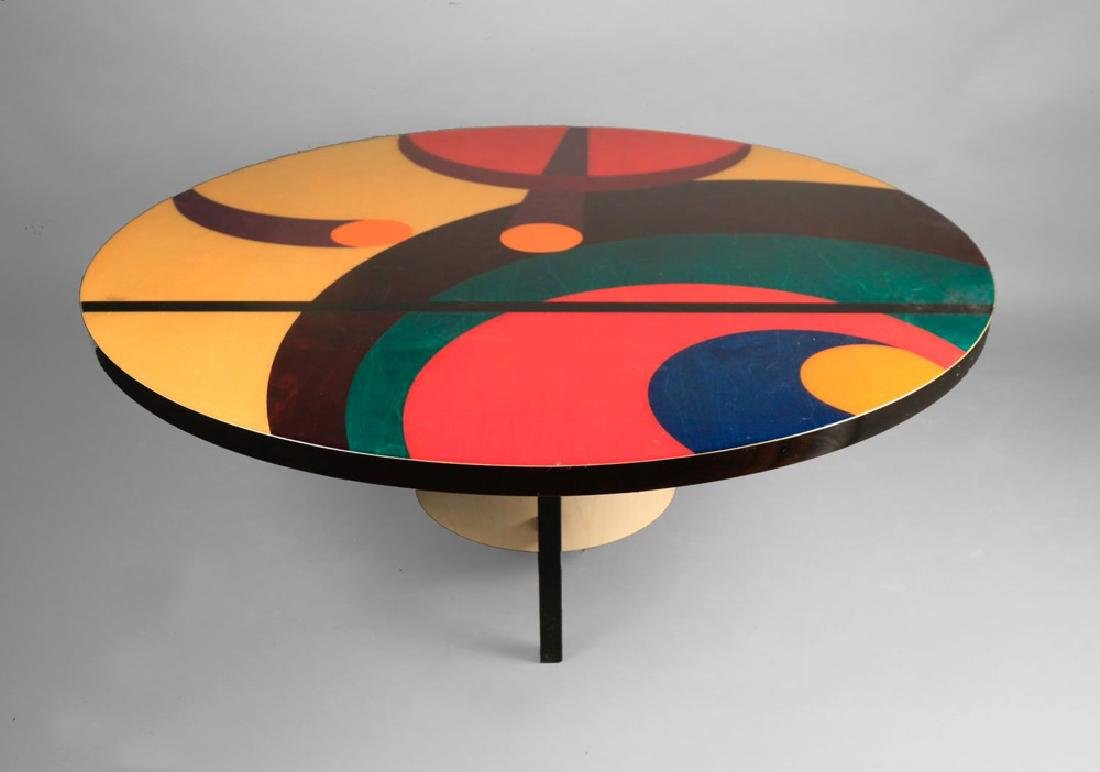 Inlaid and Stained Wood Coffee Table - 3