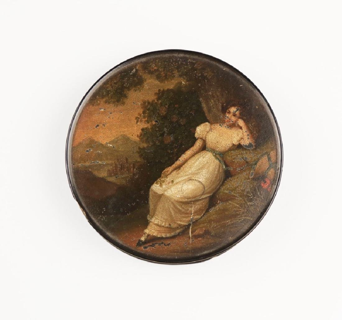 A German Hand Painted Papier Mache Snuff Box-Stobwasser