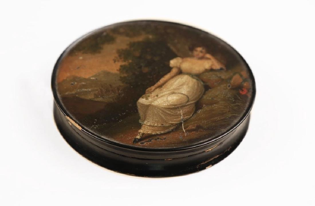 A German Hand Painted Papier Mache Snuff Box-Stobwasser - 2