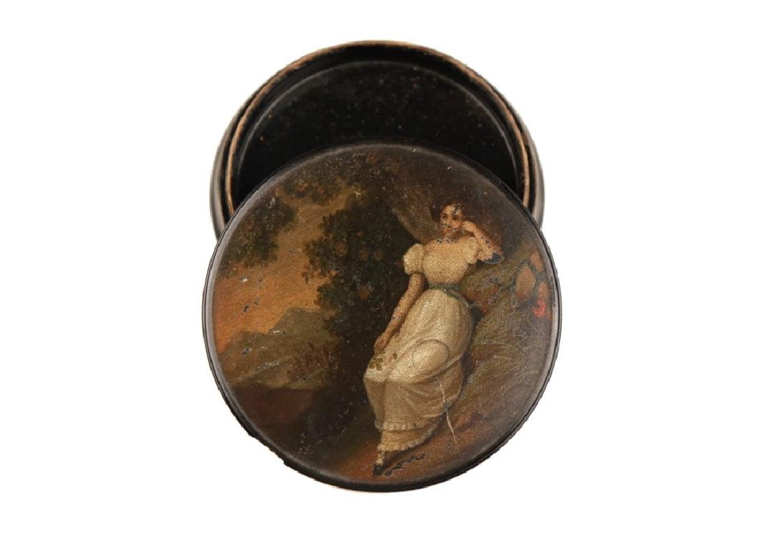 A German Hand Painted Papier Mache Snuff Box-Stobwasser - 3