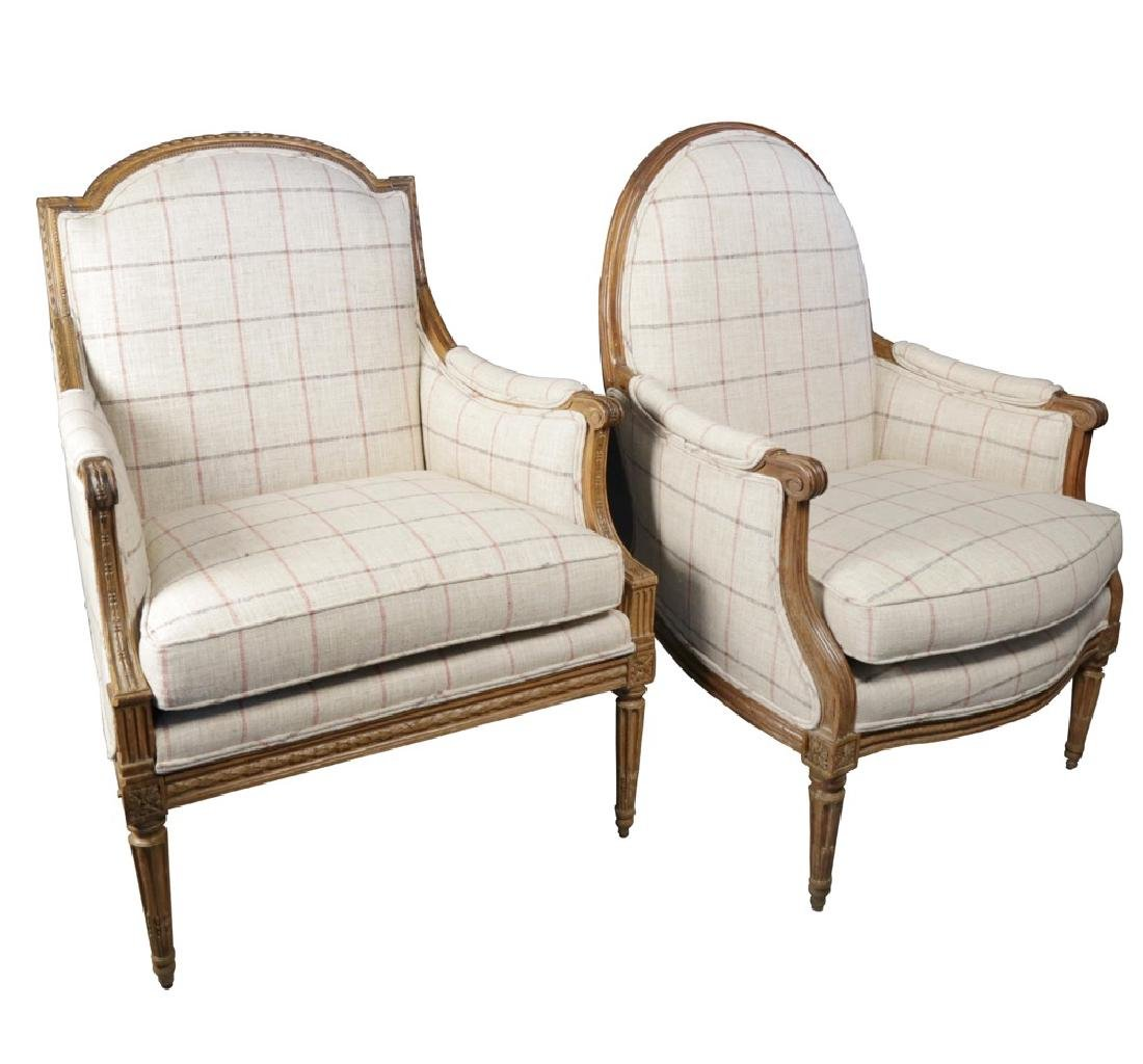 Two 18th c. French Bergeres, assembled pair