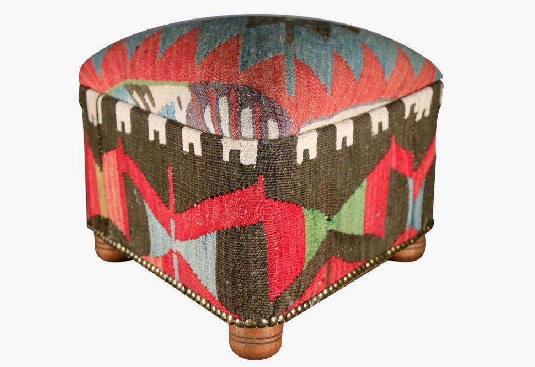 Upholstered Kilim Stool