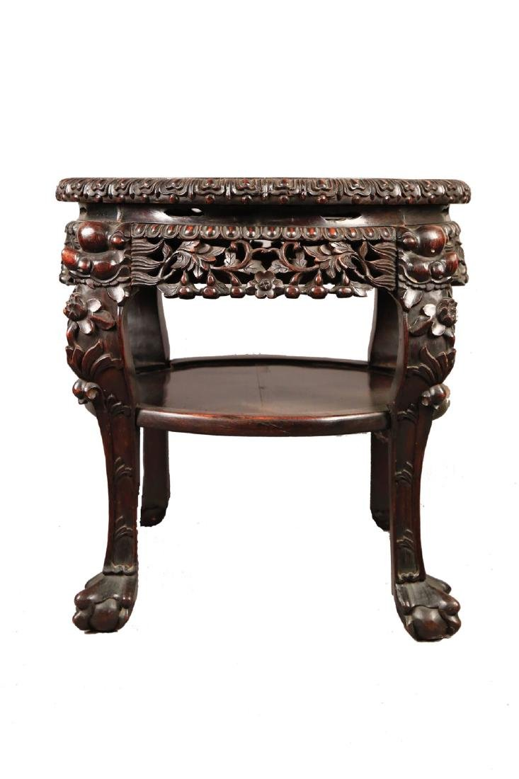 A Chinese Teak Wood and Marble Top Stand, c.1880