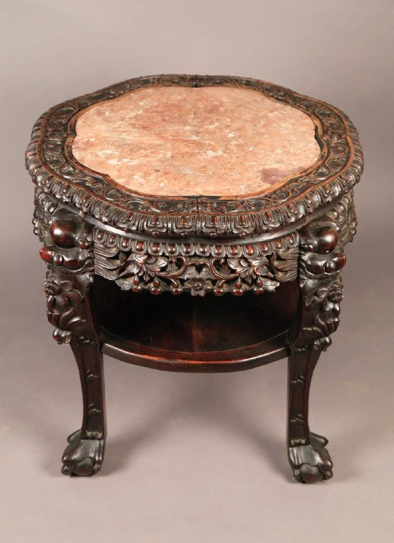 A Chinese Teak Wood and Marble Top Stand, c.1880 - 2