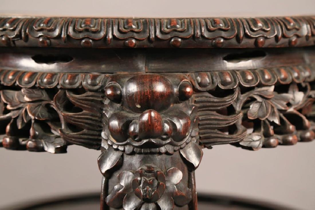 A Chinese Teak Wood and Marble Top Stand, c.1880 - 7