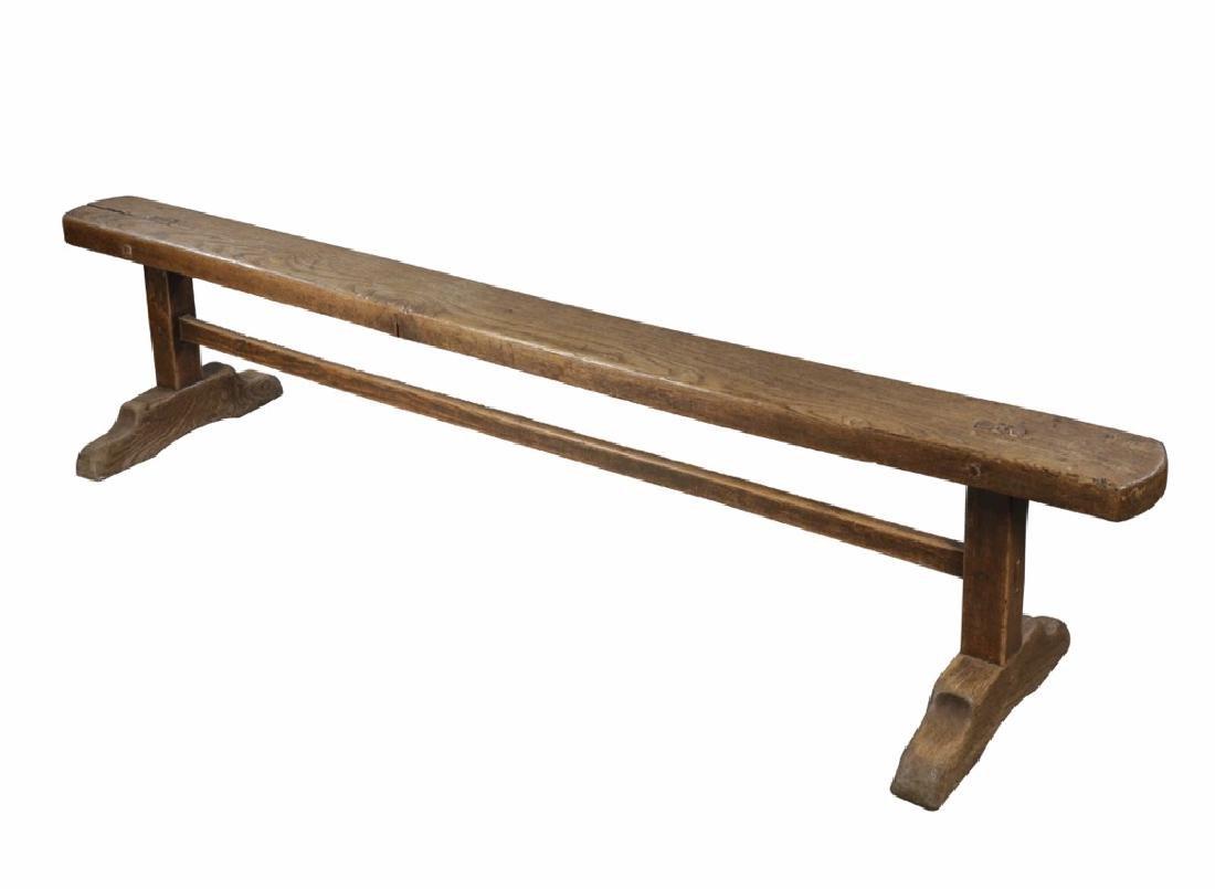 Oak or Elmwood Rustic Bench, 17th/18th Century