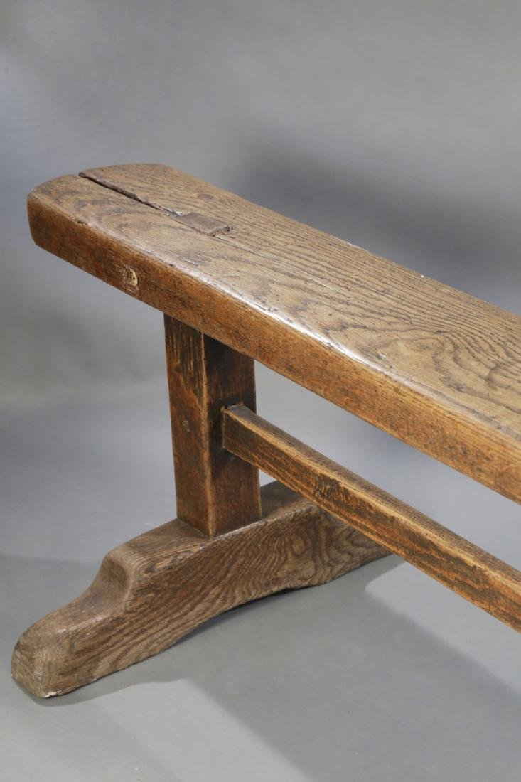 Oak or Elmwood Rustic Bench, 17th/18th Century - 3
