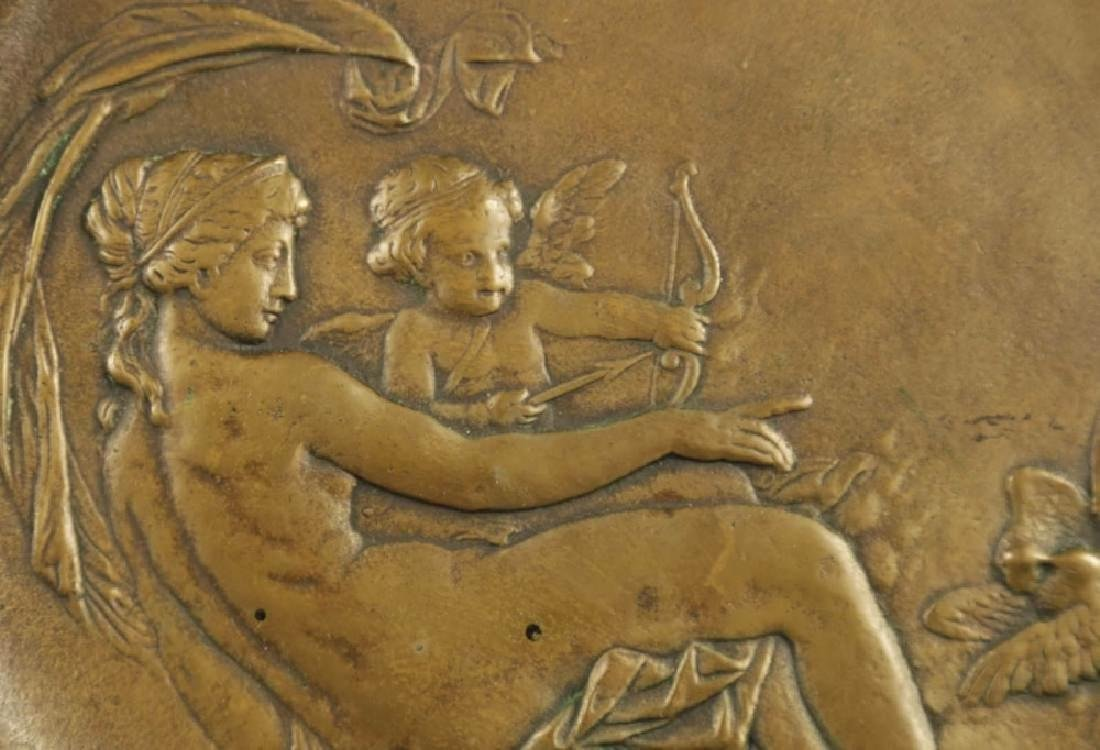 A Cast Brass Plaque depicting Venus and Cupid - 2
