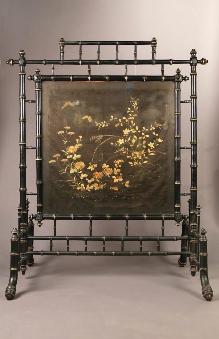 An Aesthetic Movement Fire Screen with Silk Embroidery