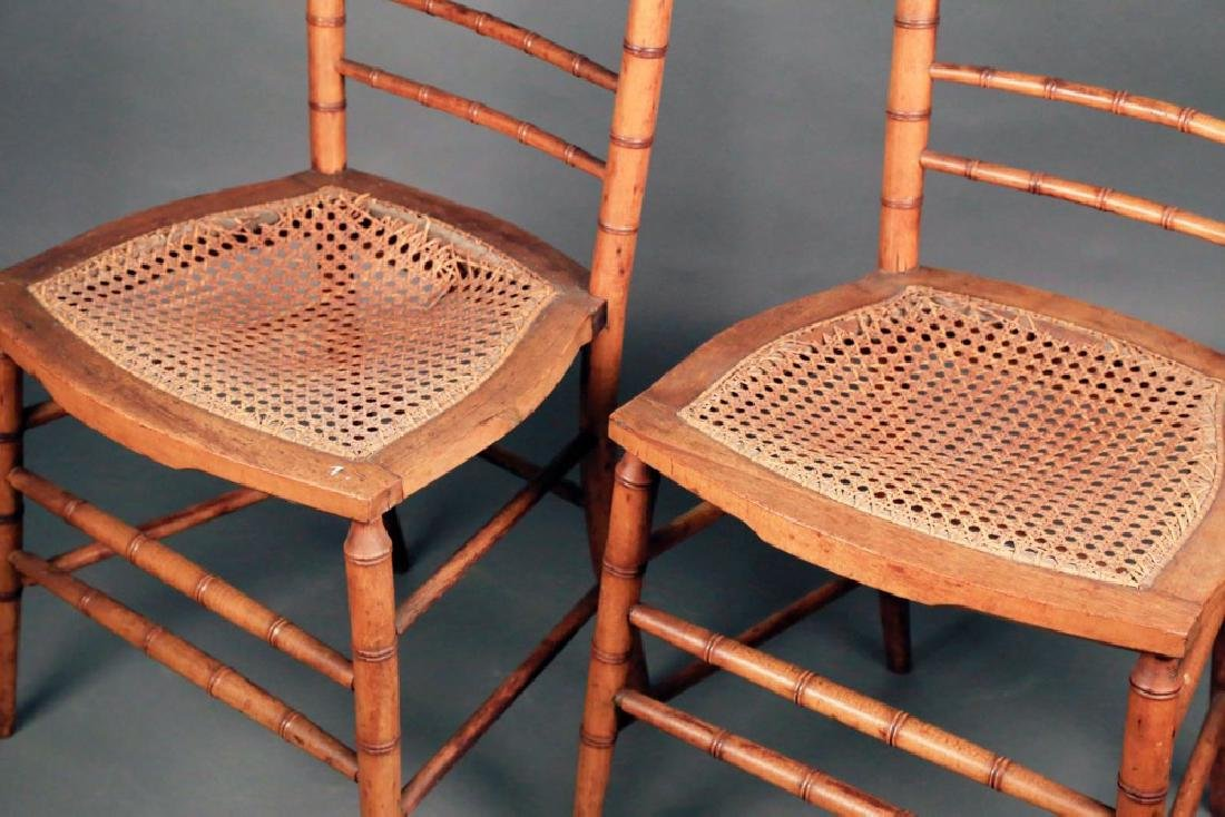Pair Faux Bamboo Ballroom Chairs, Early 19thc. - 2