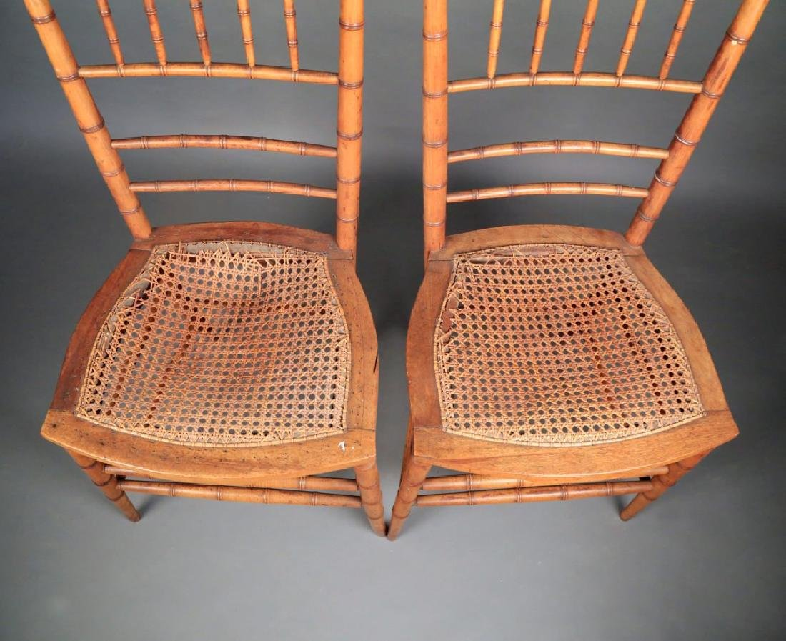 Pair Faux Bamboo Ballroom Chairs, Early 19thc. - 4