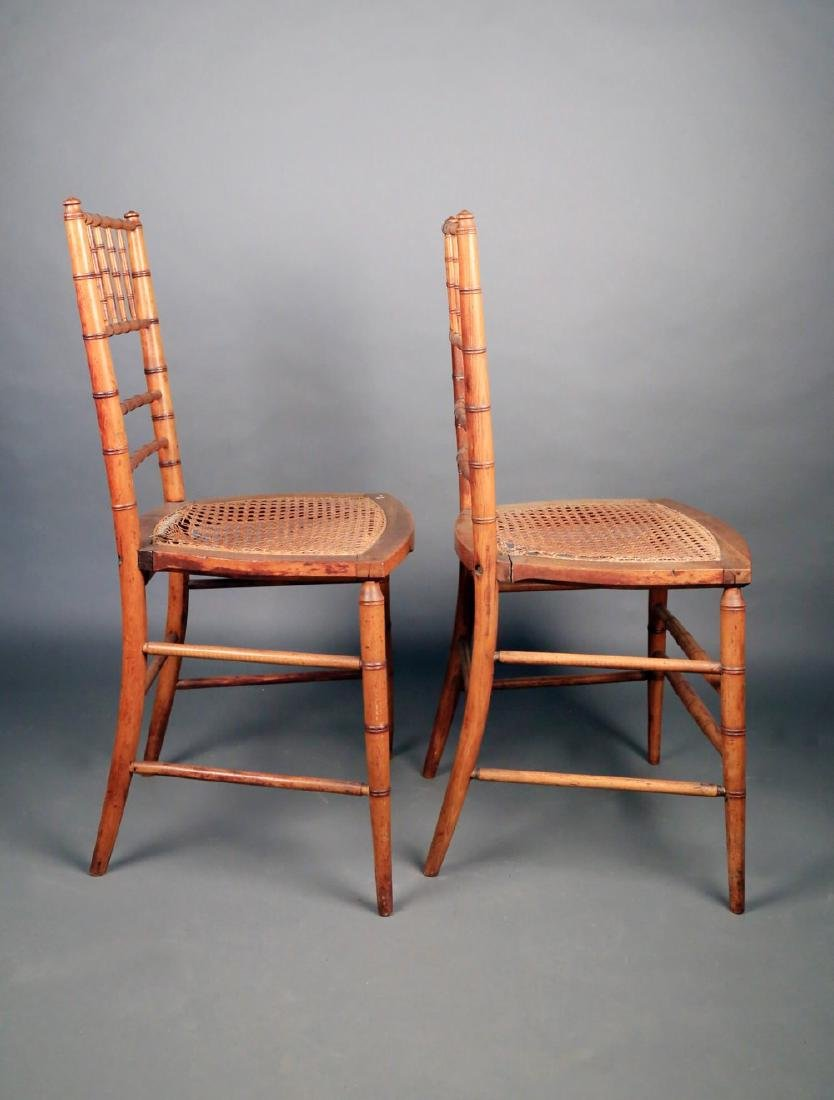 Pair Faux Bamboo Ballroom Chairs, Early 19thc. - 6