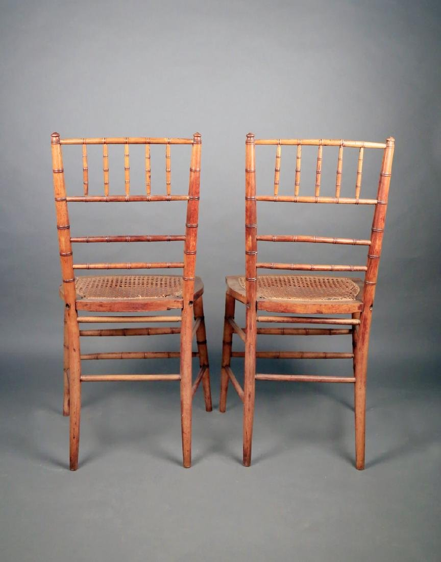 Pair Faux Bamboo Ballroom Chairs, Early 19thc. - 7