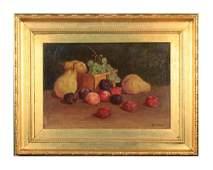 19thc. American School, Still Life with Fruit, ca 1890