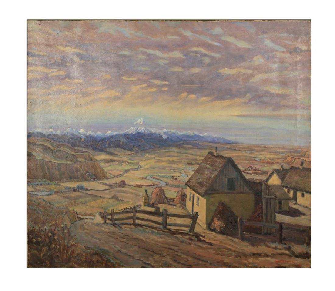 M.Ottens, Landscape Over a Farm with Mountain View