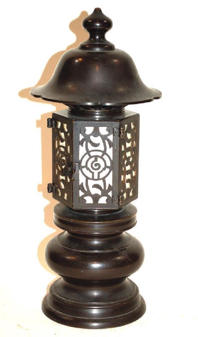 A Japanese Bronze Buddhist Bronze Temple Lantern