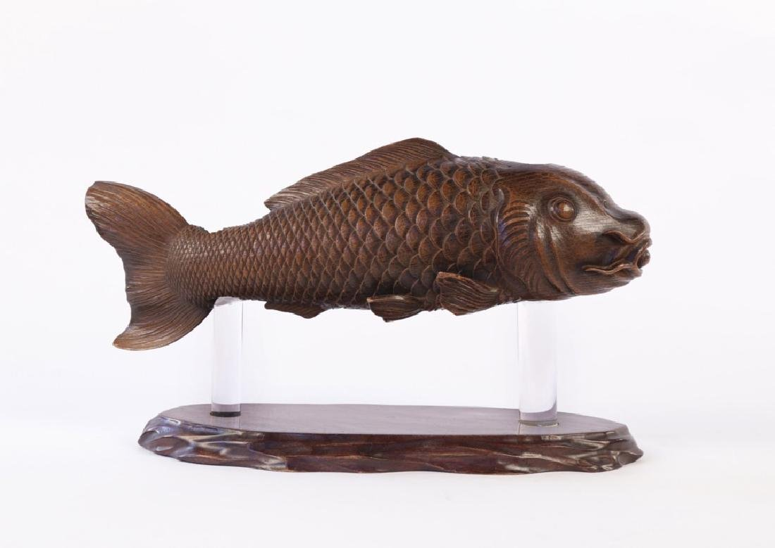 A Japanese Carved Wood Hearth Fish - 5