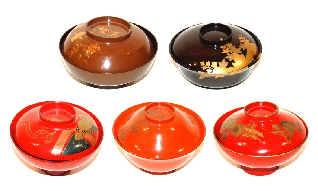 A Group of Five Japanese Lacquerware Covered Bowls
