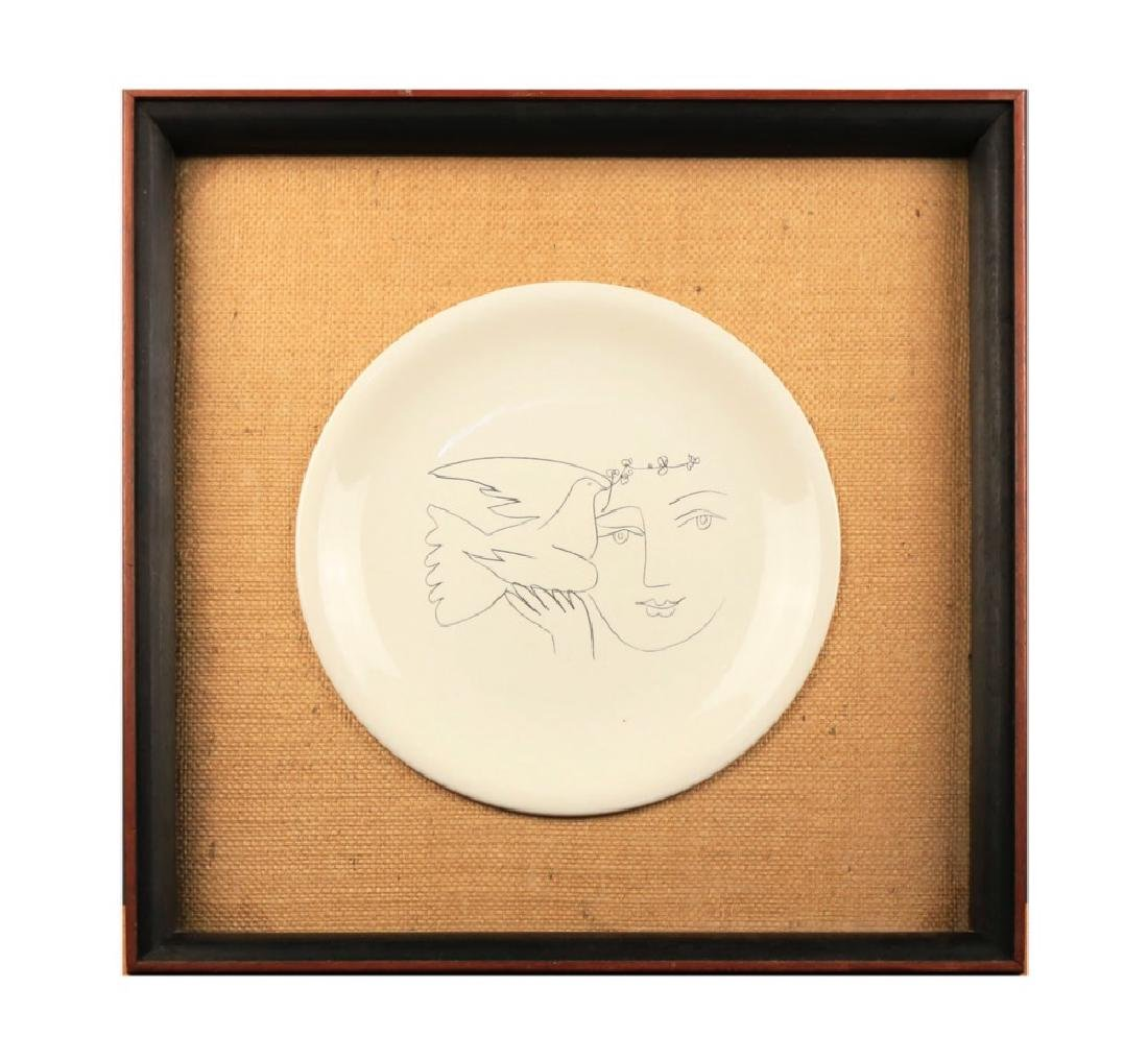 A Picasso Ceramic Charger for Salins, Woman and Dove