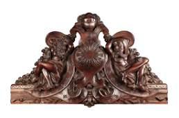 A French or Italian Carved Walnut Transom, 19th c.