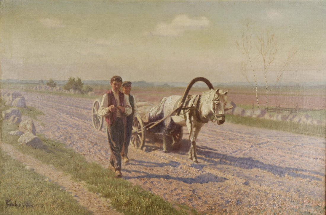 Jan Grubinski (Polish, 1874–1945) In the Fields