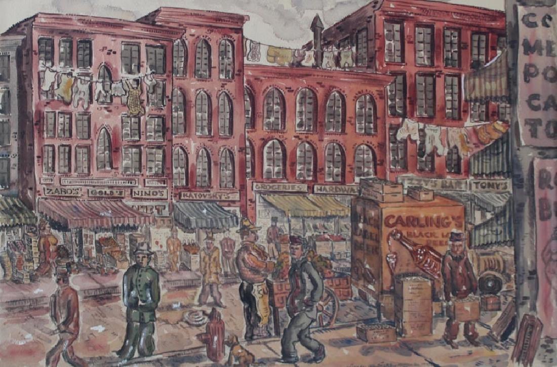 Milford Goldfarb - Busy New York Street Scene, 1943