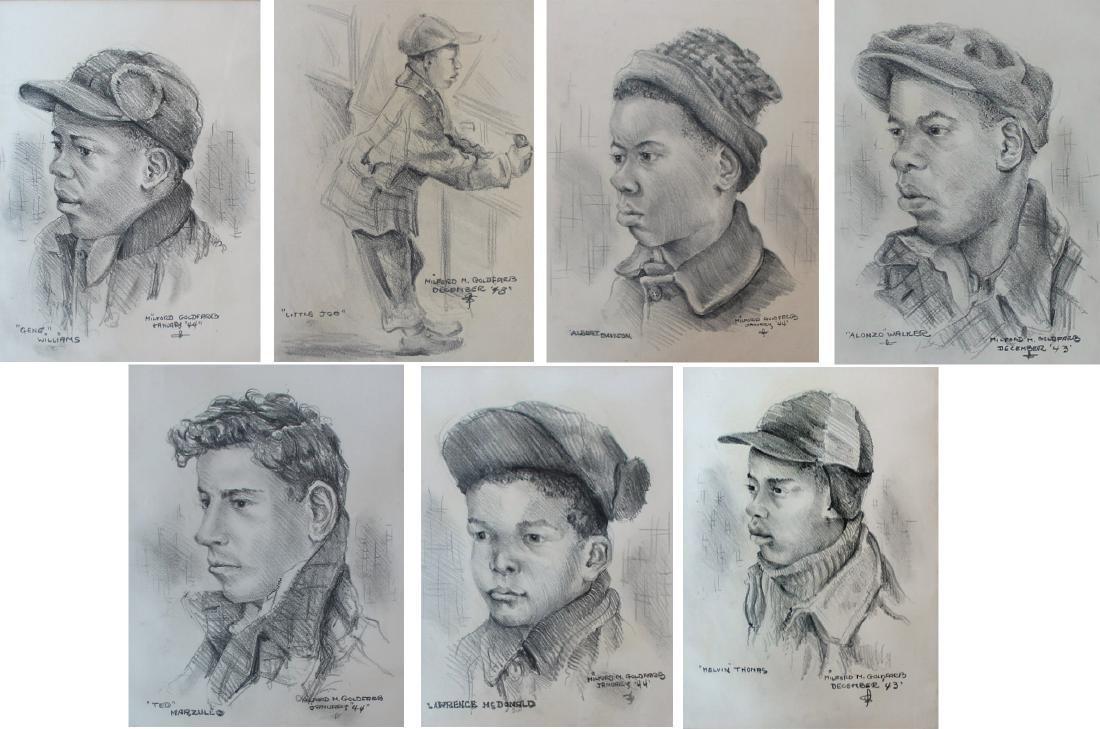 Milford Goldfarb - Lot of 7 Portrait Drawings