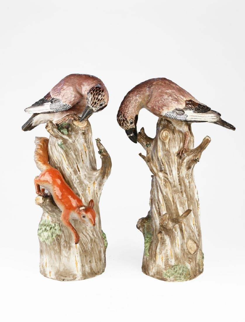 Pair of Mission (Kandler) Porcelain Birds, Late 18th