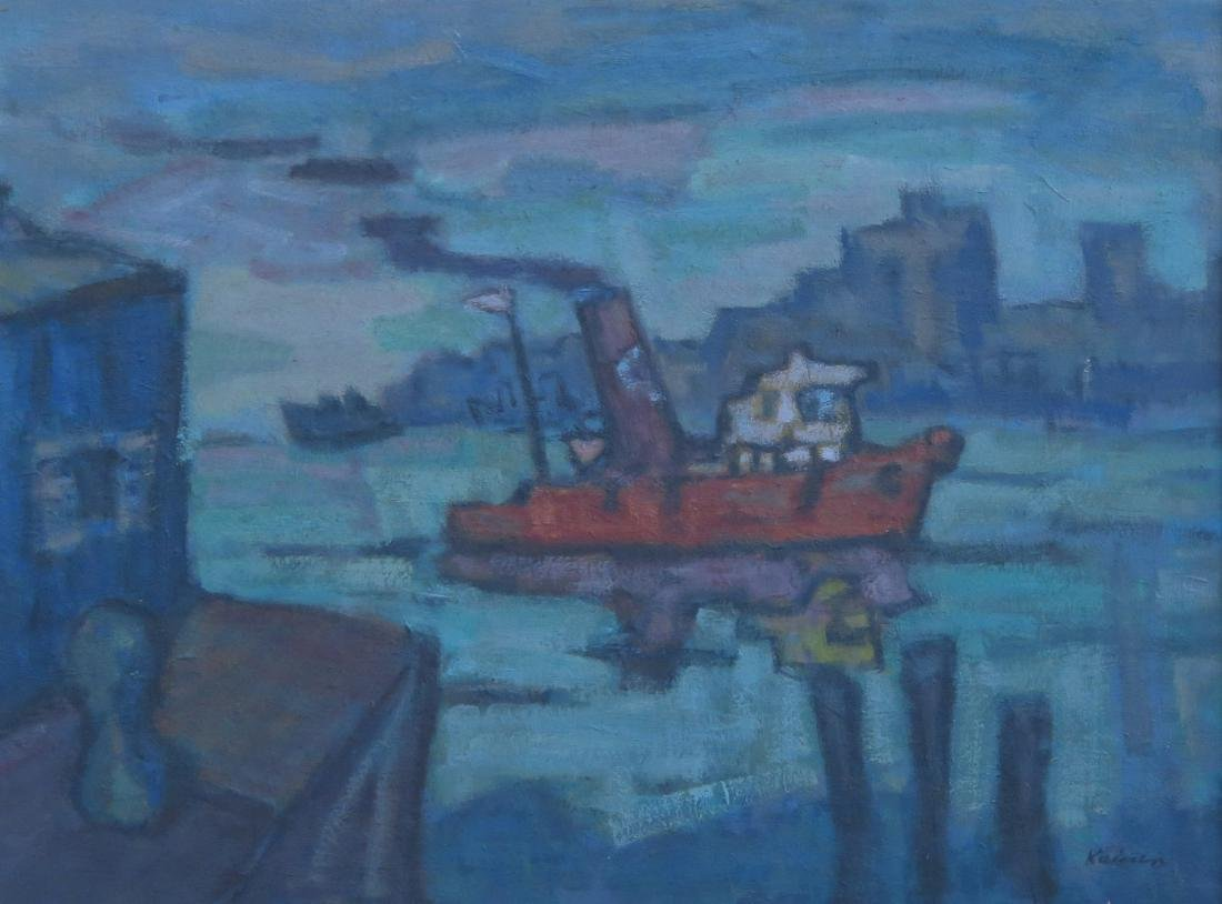 Jacob Kainen (American, 1909-2001) Tugboat on the River - 2