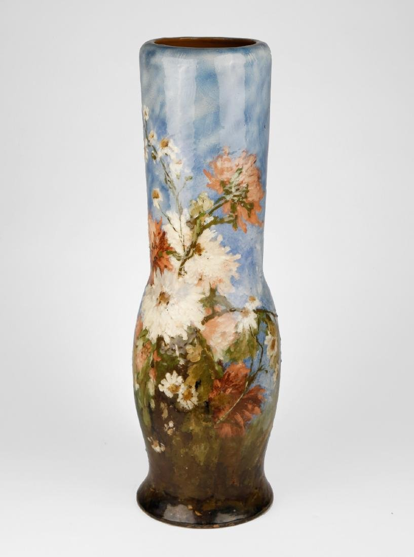 A French Limoges Polychrome Vase with Floral Motif,