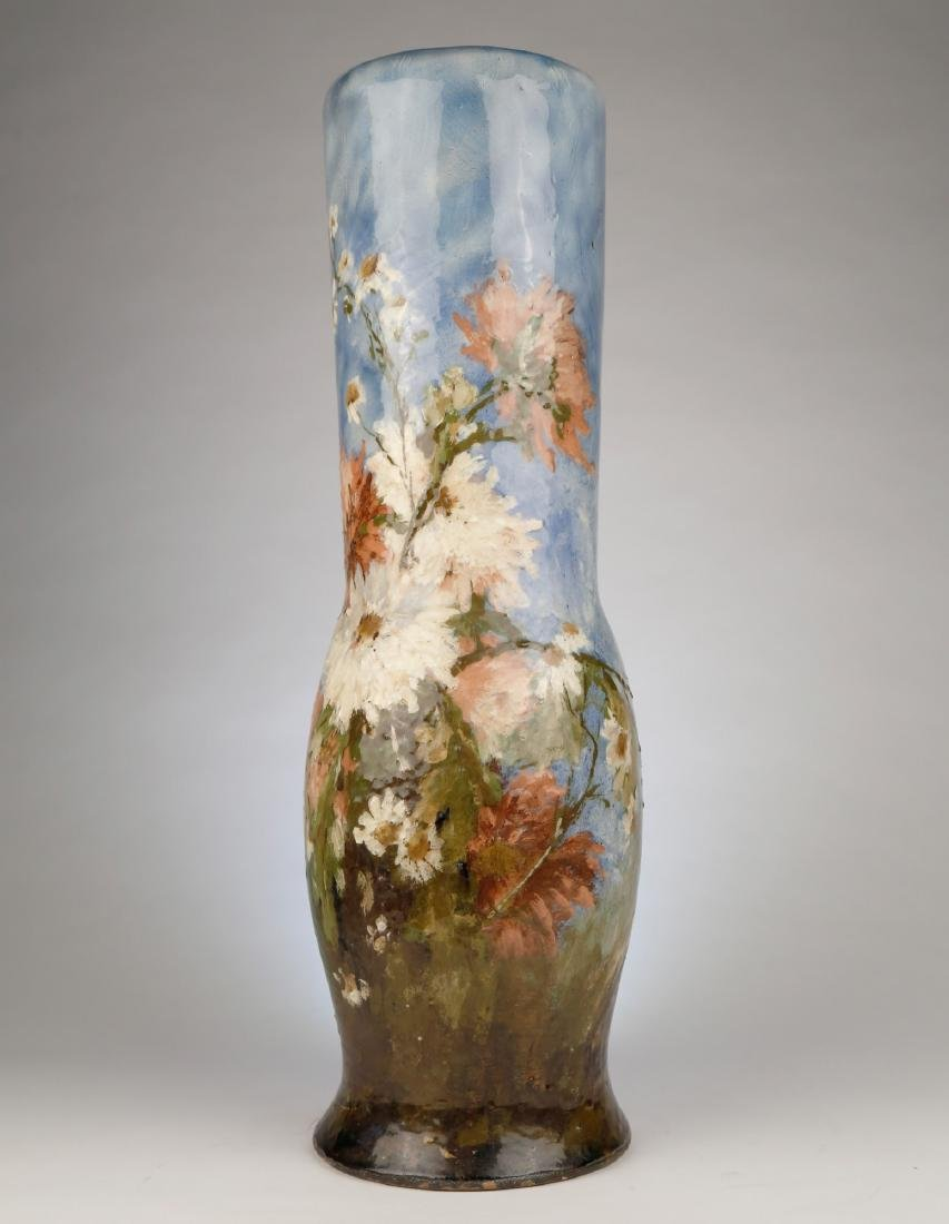 A French Limoges Polychrome Vase with Floral Motif, - 2