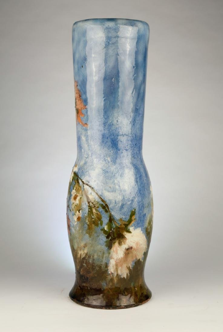 A French Limoges Polychrome Vase with Floral Motif, - 3