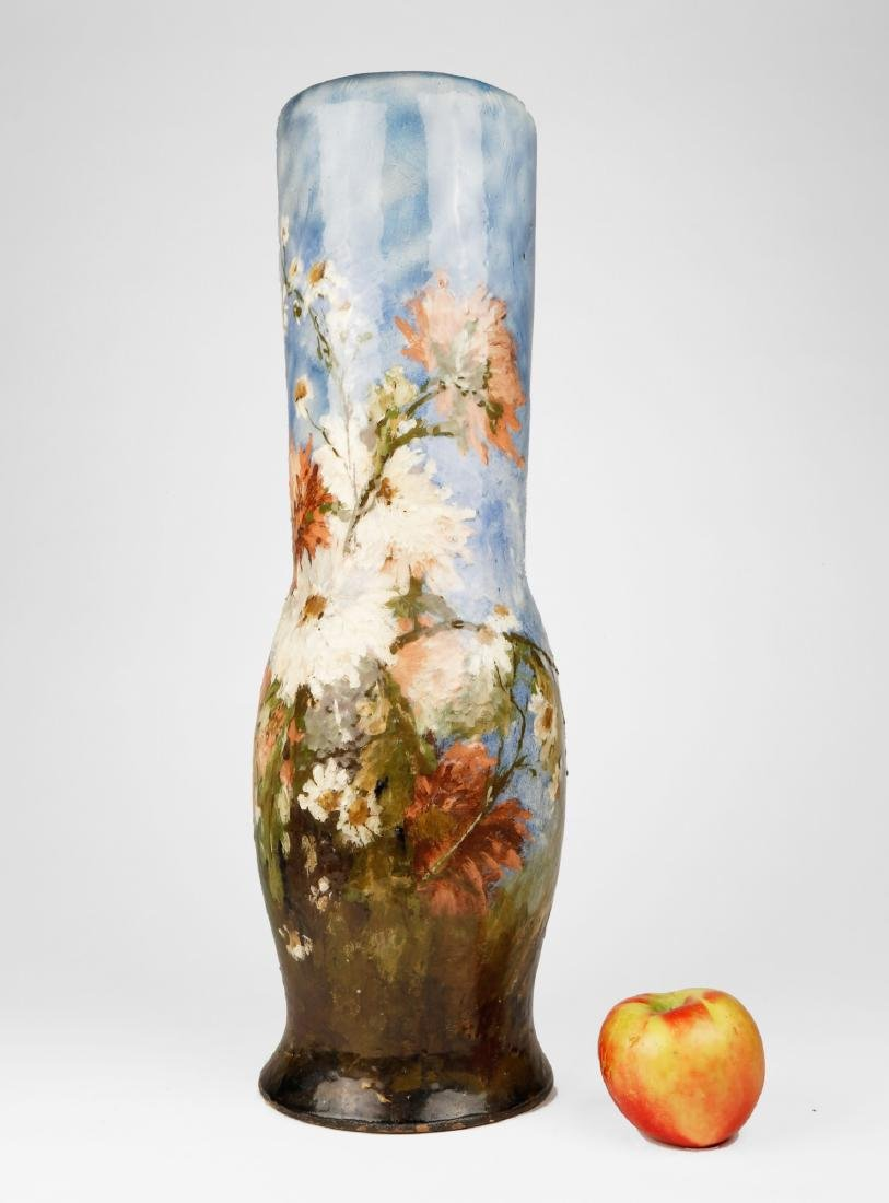 A French Limoges Polychrome Vase with Floral Motif, - 5