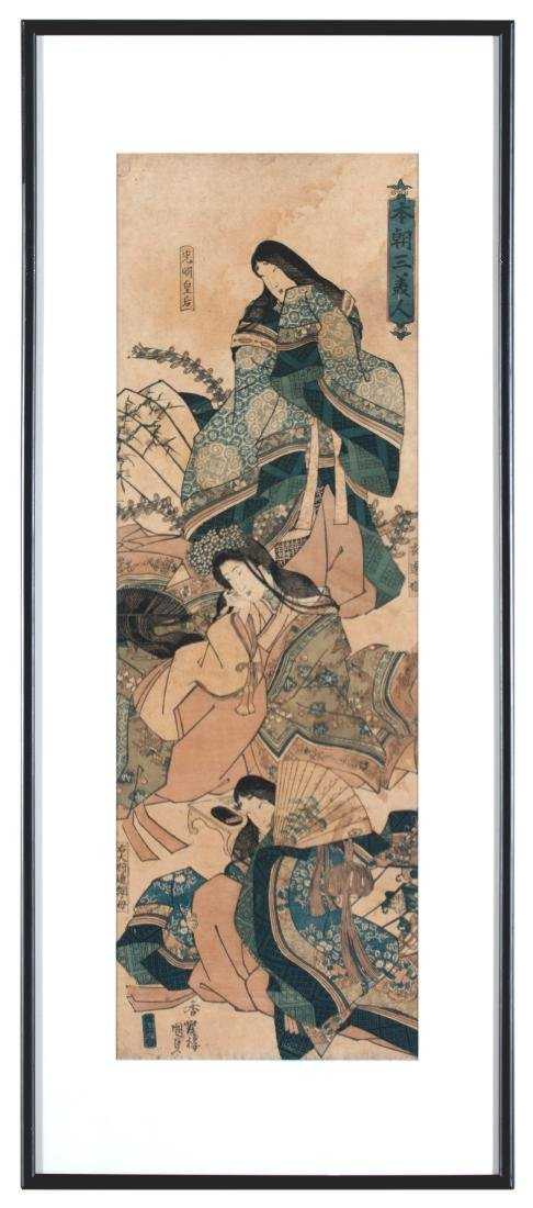 Two Japanese Woodblock Prints By Kunisada and Yeische - 2